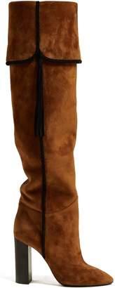 Saint Laurent Meurice tassel-embellished suede knee-high boots