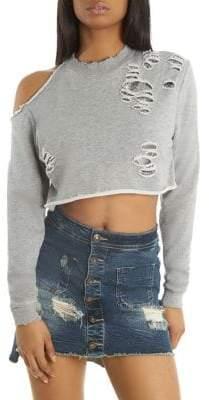 Embellished Distressed Cropped Sweatshirt