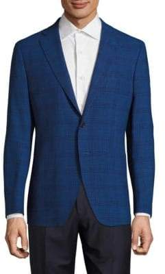 Saks Fifth Avenue Modern-Fit Wool & Linen Plaid Jacket
