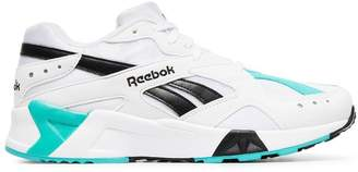 Reebok white, blue and black aztrek sneakers
