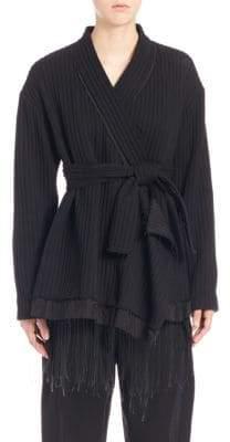 MS MIN Ribbed Wool Kimono Coat