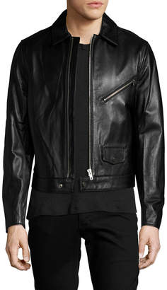 You As Yuddy Leather Spread Collar Jacket