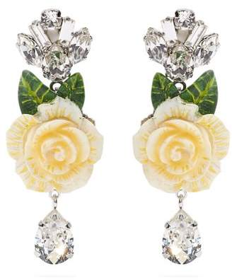 Dolce & Gabbana Rose And Crystal Drop Clip On Earrings - Womens - White