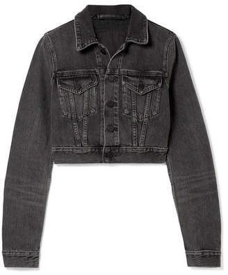 Alexander Wang Cropped Denim Jacket - Charcoal
