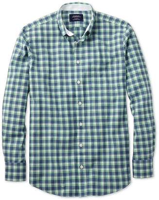 Charles Tyrwhitt Extra Slim Fit Blue and Green Check Washed Oxford Cotton Casual Shirt Single Cuff Size Medium
