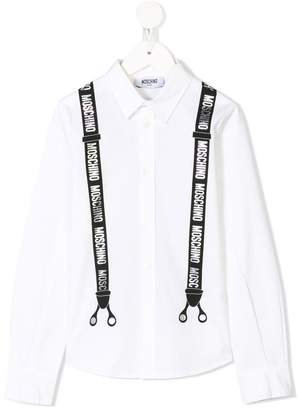 Moschino Kids logo brace print shirt