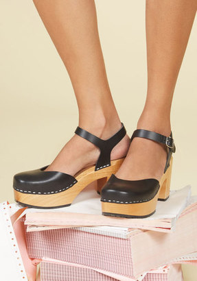 Swedish Hasbeens Arts and Letters Heel in Ink $248.99 thestylecure.com