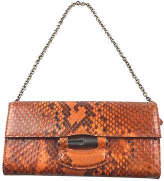 f937d6d9e3b6bc Gucci Bamboo Orange Python Clutch Bag