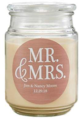 Mr. & Mrs. Scented Glass Candle Jar
