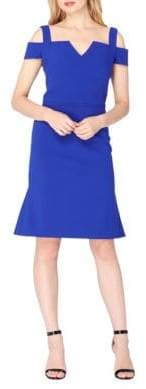 Tahari Cold-Shoulder Crepe Flounce Dress