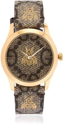 Gucci 38mm G-Timeless Gg & Bee Leather Watch