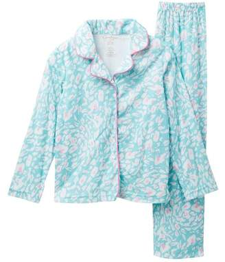 Jessica Simpson Long Sleeve Notch Collar Pajama Set (Little Girls & Big Girls)