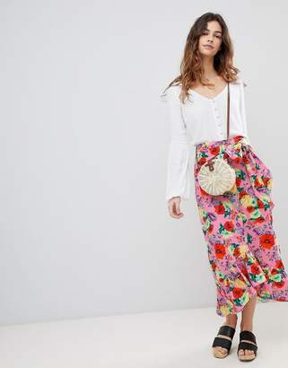 Asos DESIGN cotton midi skirt with ruffle hem and belt in floral print