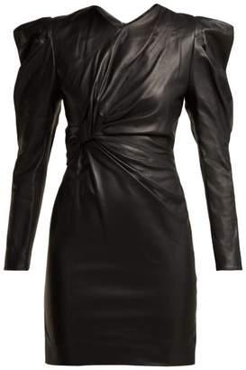 Isabel Marant Cobe Knotted Leather Mini Dress - Womens - Black
