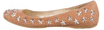 Jimmy Choo Jimmy Choo Star-Embellished Leather Flats