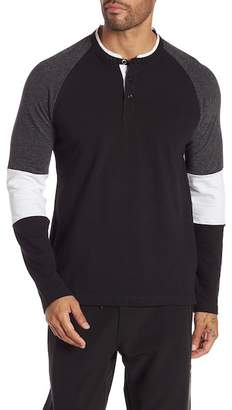 Kenneth Cole New York Long Sleeve Colorblock Knit Henley Shirt
