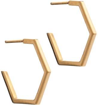 Rachel Jackson London - Hexagon Hoop Earrings Gold