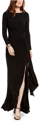 Vince Camuto Ruched Front-Slit Gown