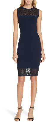 Milly Translucent Texture Sheath Dress