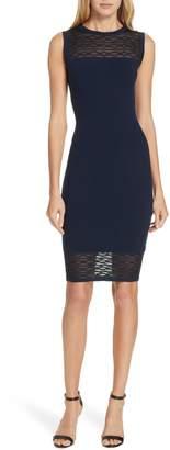 Milly Translucent Texture Sheath Dress