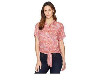 Mod-o-doc Printed Rayon Tie-Front Shirt Women's Short Sleeve Button Up