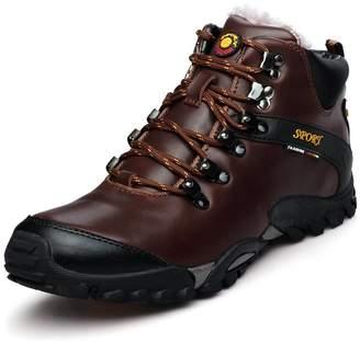 GOMNEAR Men Hiking Boots Warm Trekking Shoes Winter Outdoor Fur Lined High Top Non-Slip Waterproof Climbing Sneaker -44