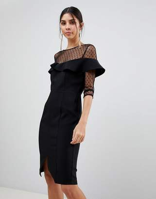 Paper Dolls 3/4 Sleeve Mesh Dress With Frill Detail