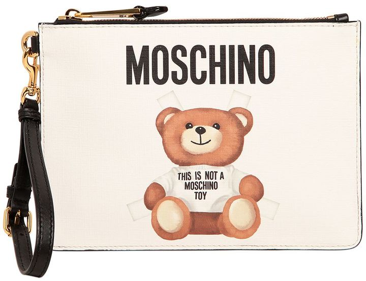 MoschinoTeddy Bear Tab Print Faux Leather Pouch