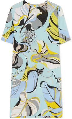 Emilio Pucci Printed Silk Crepe De Chine Mini Dress - Blue