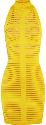 Balmain - Cutout Ribbed Stretch-knit Mini Dress - Chartreuse $2,230 thestylecure.com