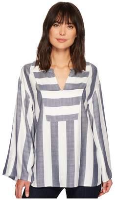 Vince Camuto Bell Sleeve Refined Herringbone V-Neck Shirt Women's Long Sleeve Pullover