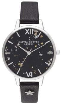 Olivia Burton Stainless Steel Leather Strap Watch