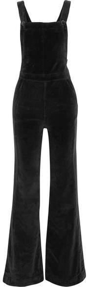 FRAME - Le Velveteen Cotton-blend Velvet Jumpsuit - Black