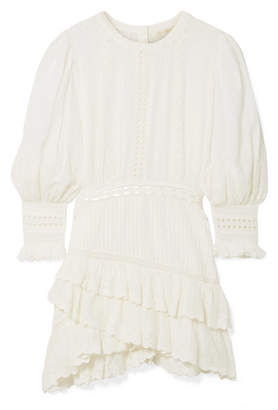 LoveShackFancy Lorelei Tiered Broderie Anglaise Cotton-gauze Mini Dress - White
