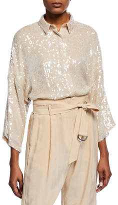 Sally LaPointe Sequined 3/4-Sleeve Cropped Button-Front