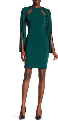 Alexia Admor Long Split Sleeve Chest Cutout Dress