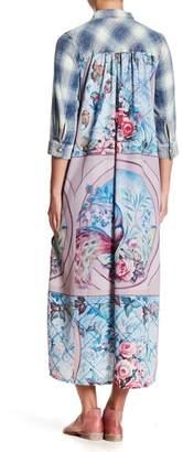ARATTA The Garden of Sin Plaid & Floral Applique Dress