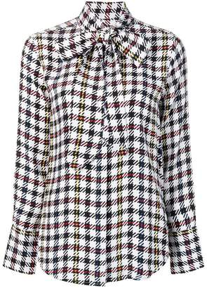 Equipment check patterned bow detail shirt