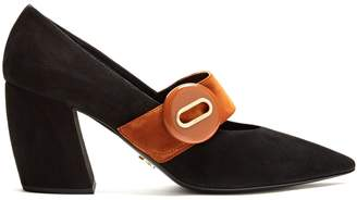Button-buckle suede Mary-Jane pumps