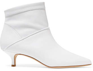 Jean Leather Sock Boots - White