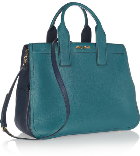 Miu Miu Two-tone textured-leather tote