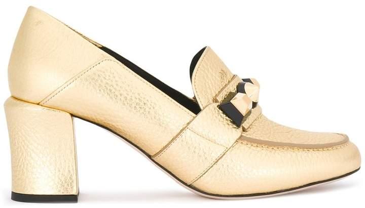 Fendi stud detail loafer pumps