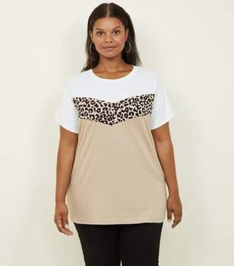 New Look Curves White Leopard Print Colour Block T-Shirt