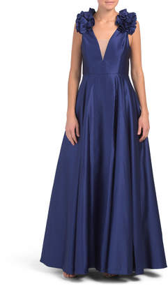 Made In Usa Ruffle Shoulder V-neck Ball Gown