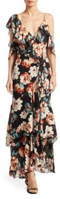 Nicholas Lola Ruffle Cold-Shoulder Silk Maxi Dress