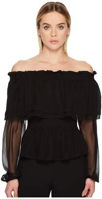 Prabal Gurung Chiffon Off the Shoulder Long Sleeve Top Women's Clothing