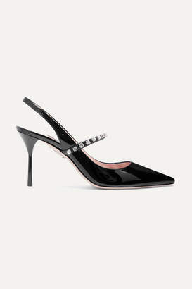 Miu Miu Crystal-embellished Patent-leather Slingback Pumps - Black