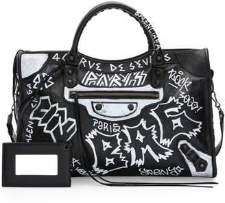 Balenciaga Medium City Graffiti Leather Satchel