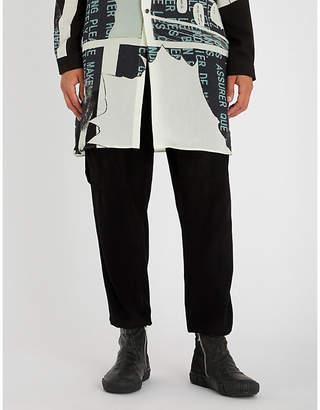 Yohji Yamamoto Dropped-crotch wool and cashmere-blend jogging bottoms