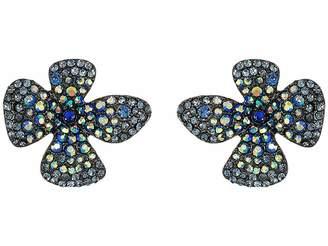Betsey Johnson Blue Pave Flower Stud Earrings